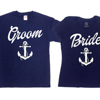 Bride And Groom Shirts Matching T Shirts Nautical Wedding Gifts His And Her TShirts Husband And Wife Just Married Mr And Mrs SA307-308
