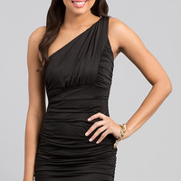 Short One Shoulder Ruched Dress