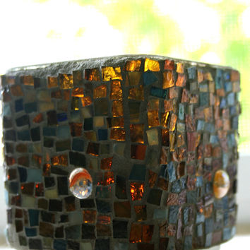 Etsy Mosaic Brown Stained Glass Candle Holder Vase Home Decor Gift Ideas Hostess 3.5 inches