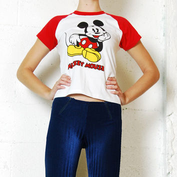 Vintage 90s MICKEY MOUSE Red Baseball Tee Normcore T-Shirt Shirt Xs-S