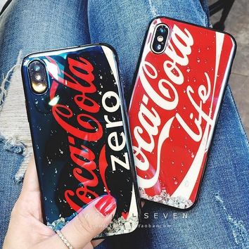 Personalized love coke soft rubber blu-ray phone case shell  for iphone 6/6s,iphone 6p/6splus,iphone 7/8,iphone 7p/8plus, iphonex