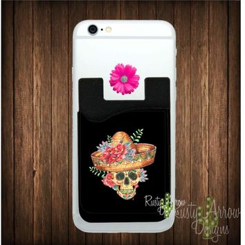 Sugar Skull with Hat Cell Phone Card Caddy