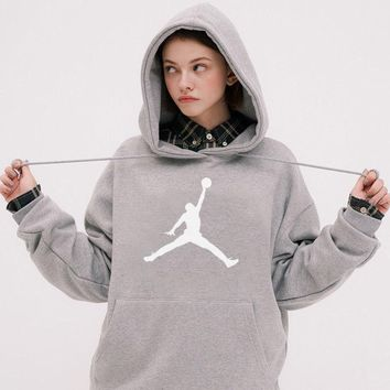 DCCK2 590 Nike Air Jordan Flyman Fashion Causal Sports Hoodie Gray