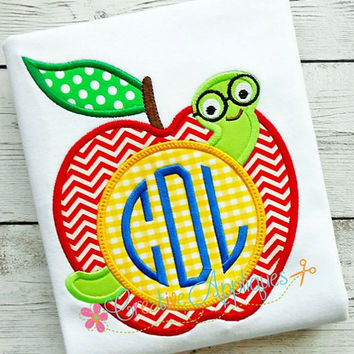 Monogram Apple Digital Machine Embroidery Applique Design 4 sizes