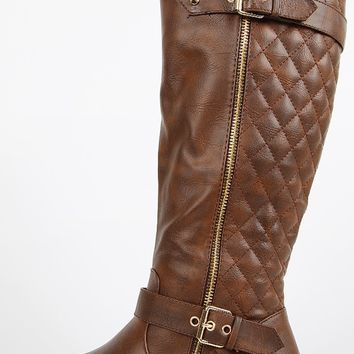 Mango-21 Zipper Quilted Riding Boots | MakeMeChic.com