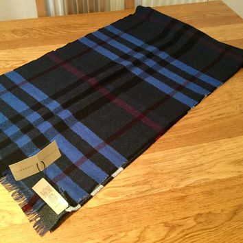 New Burberry wool scarf. Double sided in blue and grey. Tags still attached