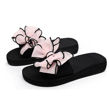 2017 Bow Thong Jelly Shoes Woman Jelly Flip Flops