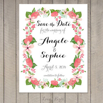 Wedding invitation Save the Date - Modern Calligraphy Floral - Digital file