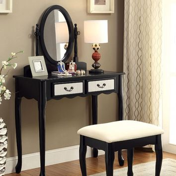 CM-DK6431BK 3 pc sommerville collection black finish wood with mirrored front panel vanity set with bench and mirror