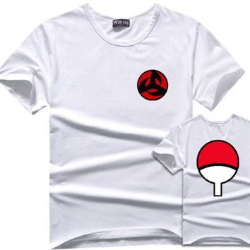 Anime T-shirt graphics Sasuke T-Shirt Men Tee Anime Naruto Uchiha Family Logo Sharingan Eye Symbol Cosplay T Shirts Akatsuki Itachi Tshirt AT_56_4