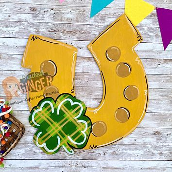 Lucky Charm Horseshoe and Clover St Patrick's Day Wooden Door Hanger or Wall Decor