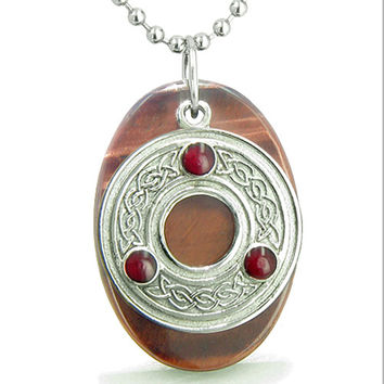 Amulet Celtic Triquetra Protection Knot Red Tiger Eye Good Luck Pendant 18 Inch Necklace