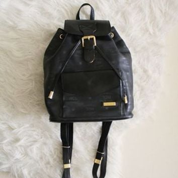 Vintage 90s Mini Leather Backpack Black Bucket Drawstring Backpack Strap Bag from R+E