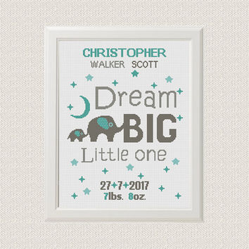 Birth announcement baby sampler Cross stitch elephants pattern animal Dream big little one new baby boy birthday gift nursery decor