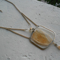 Elvish Necklace with Quartz Crystal+Upcycled Glasses-Frame+Glass ~Aurora Caught~ Crystal Necklace.Cage Necklace.in Honey Gold and Silver!