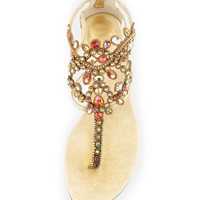 Chandalier Bejeweled Ankle Flat Sandal