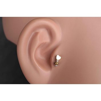 Heart Gold Cartilage Earring Tragus Helix Piercing