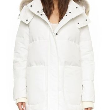 Down Cocoon Parka with Fur Trim