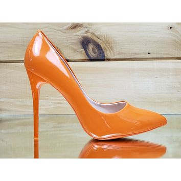 "Fabio Orange Patent 4.5"" High Heel Shoes Pointy Toe Pump 7-11"