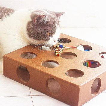 Cat Hide and Seek Puzzle Box Cat Toy  with Balls & Faux Mice