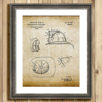 Https Wanelo Com P 12160009 Firefighter Helmet Blueprint Art Print Fireman Helmet Art Firefighter Decor Firefighter Gift