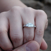 Cubic Zirconia Engagement Ring- 3 Stone Princess Cut with Peekaboo