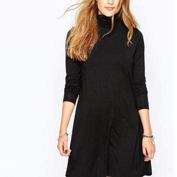 Black Turtleneck Long-Sleeve Dress
