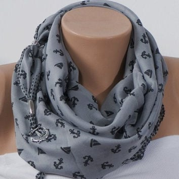 GRAY SCARF Anchor Scarf Headband Fashion Scarf by scarfstore2012