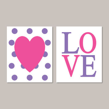 Heart Wall Art, Hot Pink Wall Art, Teen Girl Room Decor, Teen Girl Bedroom Decor, Love Sign, Girl Nursery Decor, Set of 2 Prints Or Canvas