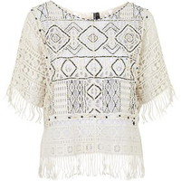 Embroidered Lace Poncho - Cream