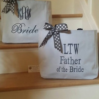 Monogrammed Bridal totes, UNIQUE Totes, Customized  BOTH SIDES Embroidered, Wedding Bags, Bridal Party Gifts, Wedding Favor, 2 sided, Unique
