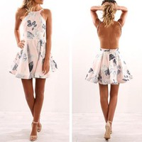 Fashion Frills High Waist Leaves Print Backless Sleeveless Strap Mini Dress