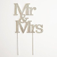 Mr and Mrs 3 Row Crystal Rhinestone Wedding Cake Topper Bride and Groom
