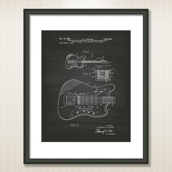 Fender Electric Guitar 1966 Patent Art Illustration - Drawing - Printable INSTANT DOWNLOAD - Get 5 colors background