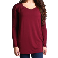 Dark Maroon Piko Long Sleeve Top