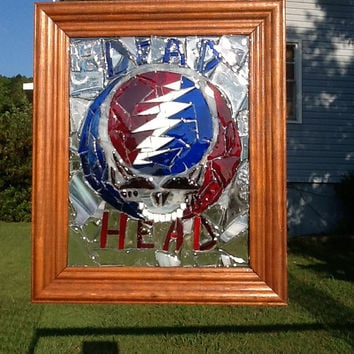 Grateful Dead Stained Glass Mosaic Window Art Suncatcher OOAK