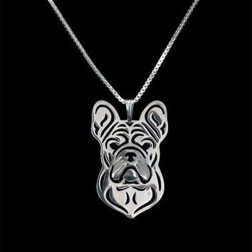 New  Unique Romantic Gold Silver Color French Bulldog Pendant Necklace Hunger Games Necklace Women Best Friend Choker