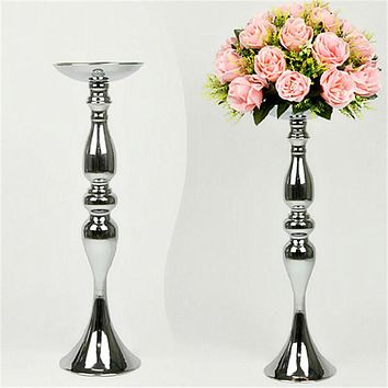 Silver Metal Candle Holders 50cm/20'' Stand Flowers Vase Candlestick