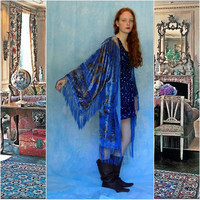 Fringe kimono in silk burnout velvet devore / Stevie Nicks denim blue gold long duster robe / hippie gypsy boho opera coat