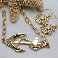 Sideways Anchor Gold Necklace and Earring Set