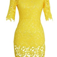 Women's Sexy Hollow Embroidery Lace Cocktail Bodycon Party Pencil Prom Dress