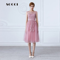 SOCCI Tulle Lace Appliques Short Cocktail Dress Red Zipper Back A-line Formal Wedding Party Dress Pearl Beading Reception Gowns