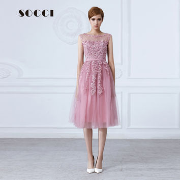 Tulle Lace Appliques Short Cocktail Dress 2016 Red Zipper Back A-line Formal Wedding Party Dresses Pearl Beading Reception Gowns