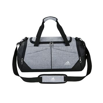 ADIDAS hot selling fashion stitching color large capacity duffel bag for men and women Gray