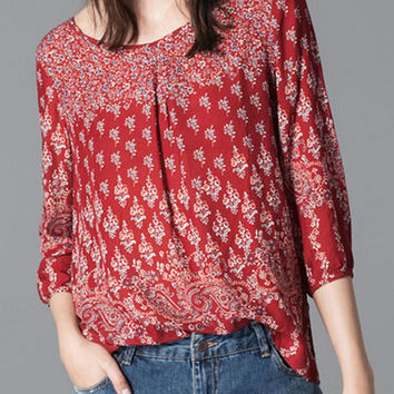 Red Floral And Paisley Pattern Half Sleeve Blouse