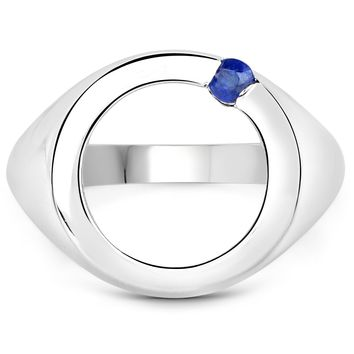 LoveHuang 0.07 Carats Genuine Kyanite Ring Solid .925 Sterling Silver With Rhodium Plating