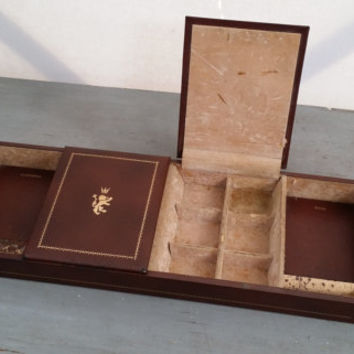 Vintage Faux Leather Men's Valet Dresser Tray Organizer Crowned Lion Perfect For The Nightstand