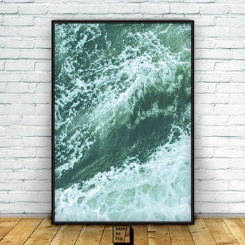 Ocean Print, Waves Wall Decor, Nautical Print, Ocean photography, Sea Prints, Sea Art, Instant download, Sea Photography, Minimalist Decor
