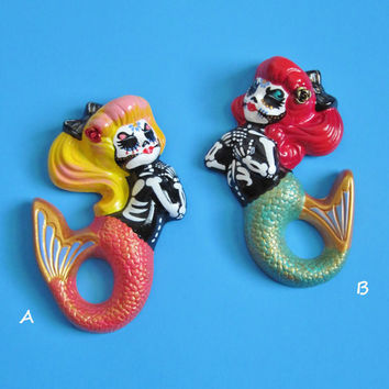 Day of the Dead MERMAID Art Wall Hanging - CUSTOM Choose Your Own Colors