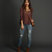 Burgundy Just Loungin Knit Top